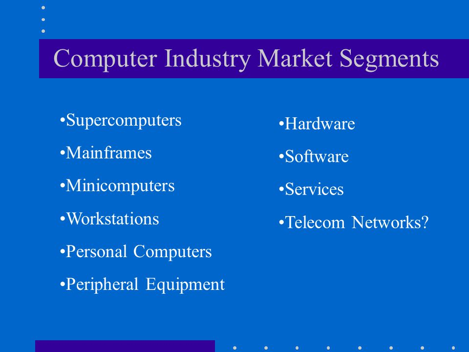 Computer Industry Market Segments Supercomputers Mainframes Minicomputers Workstations Personal Computers Peripheral Equipment Hardware Software Servi