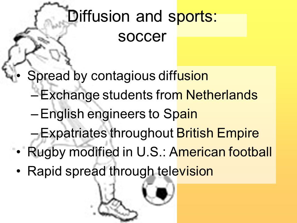 Diffusion and sports: soccer Spread by contagious diffusion –Exchange students from Netherlands –English engineers to Spain –Expatriates throughout British Empire Rugby modified in U.S.: American football Rapid spread through television