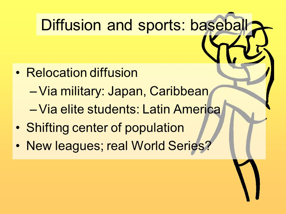 Diffusion and sports: baseball Relocation diffusion –Via military: Japan, Caribbean –Via elite students: Latin America Shifting center of population New leagues; real World Series