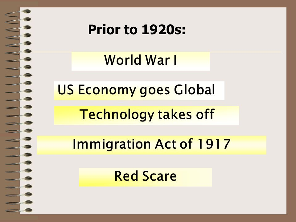 Prior to 1920s: World War I US Economy goes Global Technology takes off Immigration Act of 1917 Red Scare