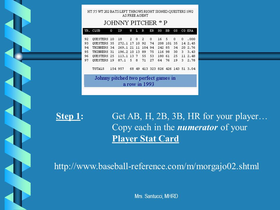 Mrs. Santucci, MHRD http://www.baseball-reference.com/m/morgajo02.shtml Step 1: Get AB, H, 2B, 3B, HR for your player… Copy each in the numerator of y