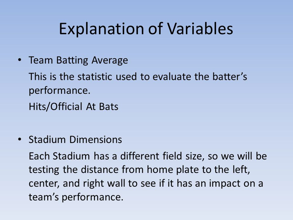 Explanation of Variables Team Batting Average This is the statistic used to evaluate the batter's performance.