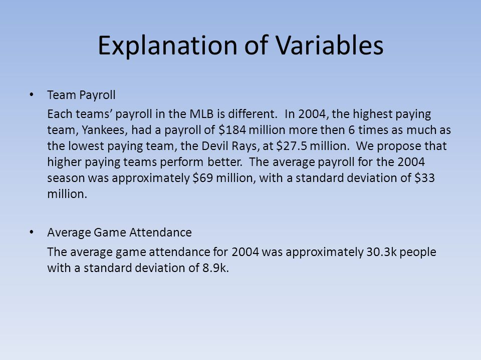 Explanation of Variables Team Payroll Each teams' payroll in the MLB is different.