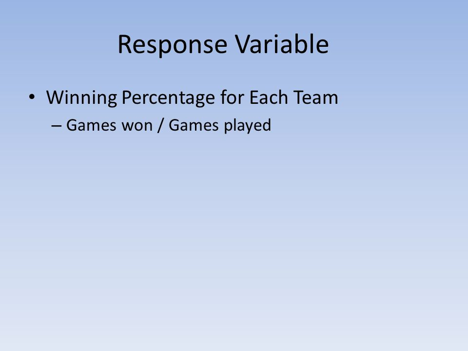Response Variable Winning Percentage for Each Team – Games won / Games played
