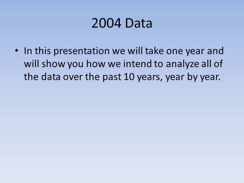 2004 Data In this presentation we will take one year and will show you how we intend to analyze all of the data over the past 10 years, year by year.