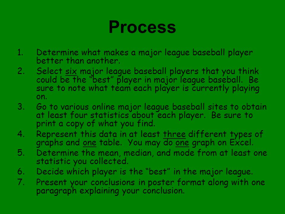 Process 1.Determine what makes a major league baseball player better than another.