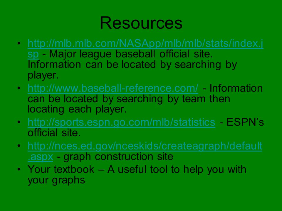 Resources http://mlb.mlb.com/NASApp/mlb/mlb/stats/index.j sp - Major league baseball official site. Information can be located by searching by player.