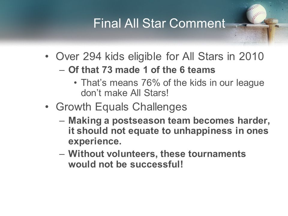 Final All Star Comment Over 294 kids eligible for All Stars in 2010 –Of that 73 made 1 of the 6 teams That's means 76% of the kids in our league don't make All Stars.