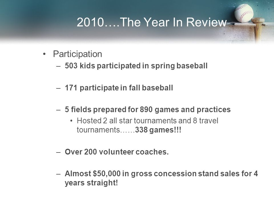 2010….The Year In Review Participation –503 kids participated in spring baseball –171 participate in fall baseball –5 fields prepared for 890 games and practices Hosted 2 all star tournaments and 8 travel tournaments……338 games!!.