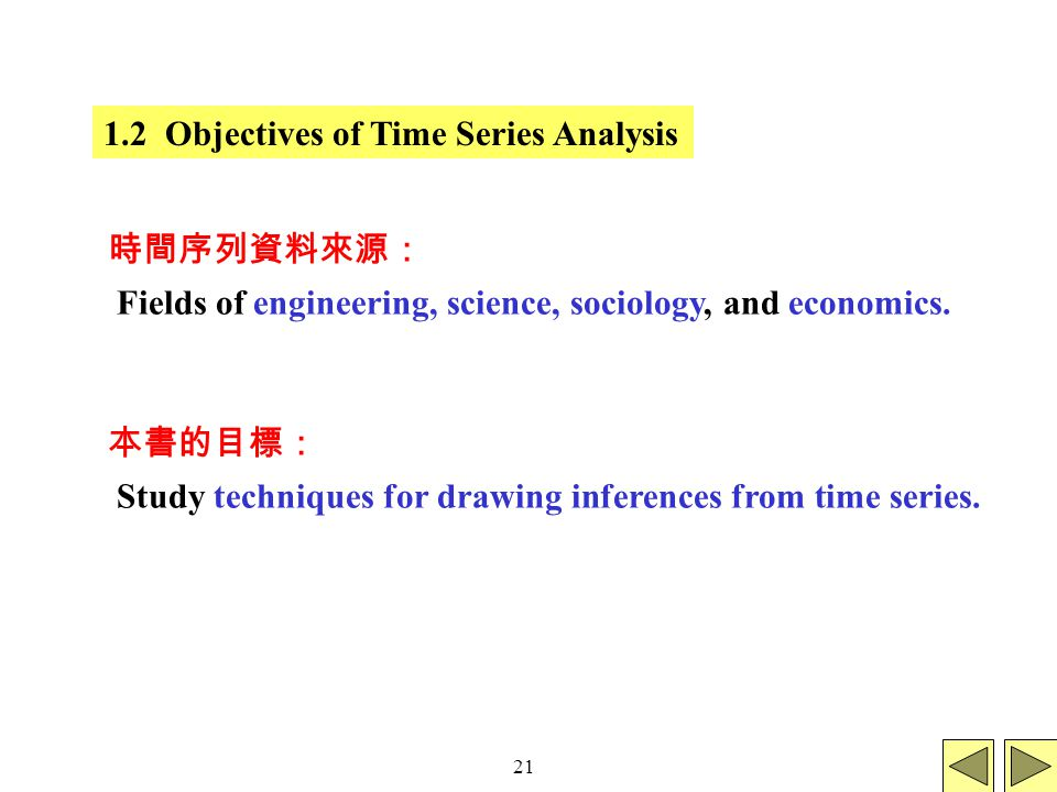 21 1.2 Objectives of Time Series Analysis Fields of engineering, science, sociology, and economics.