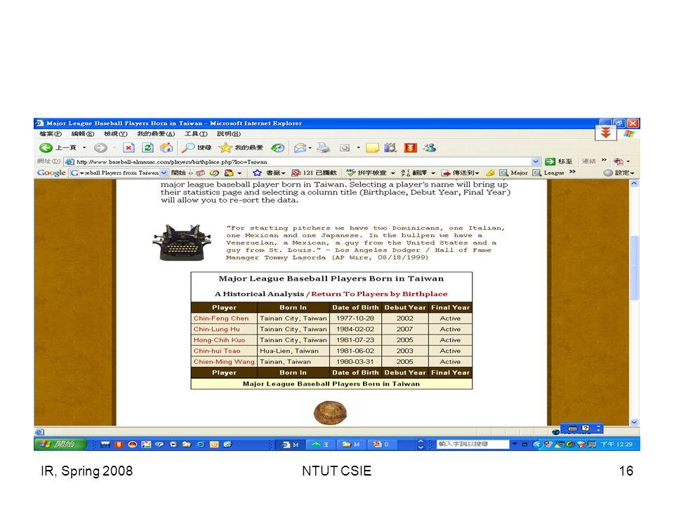 IR, Spring 2008NTUT CSIE16