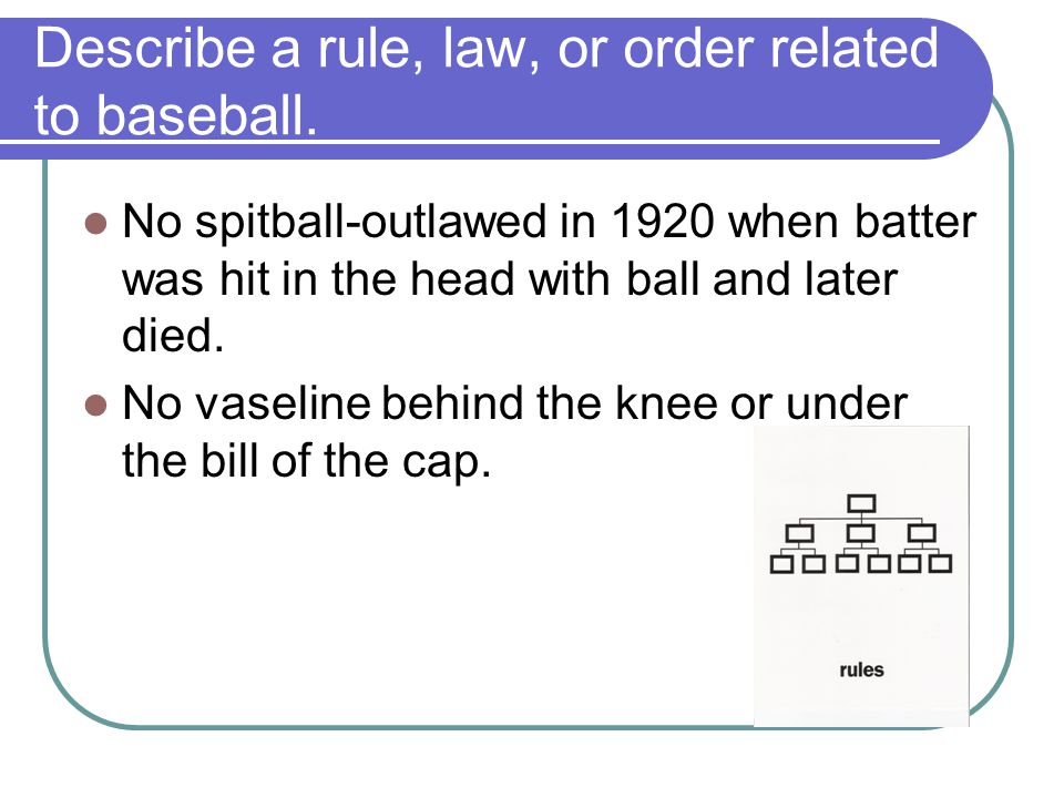 Describe a rule, law, or order related to baseball.