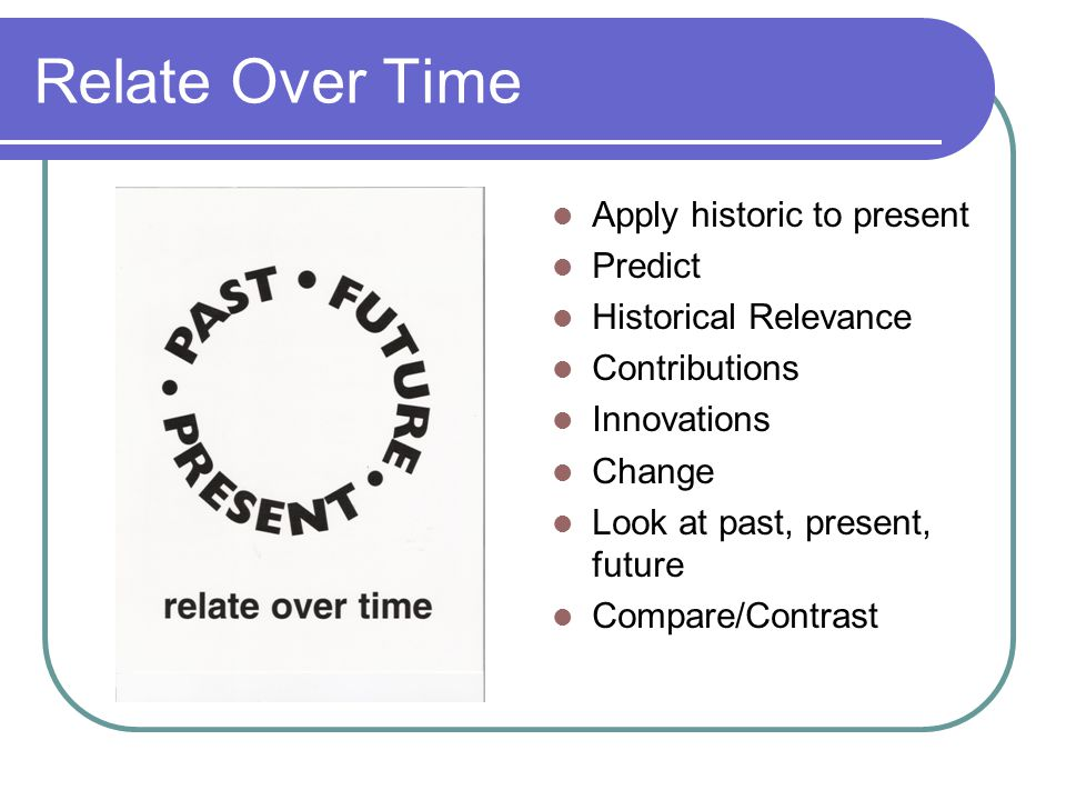 Relate Over Time Apply historic to present Predict Historical Relevance Contributions Innovations Change Look at past, present, future Compare/Contrast