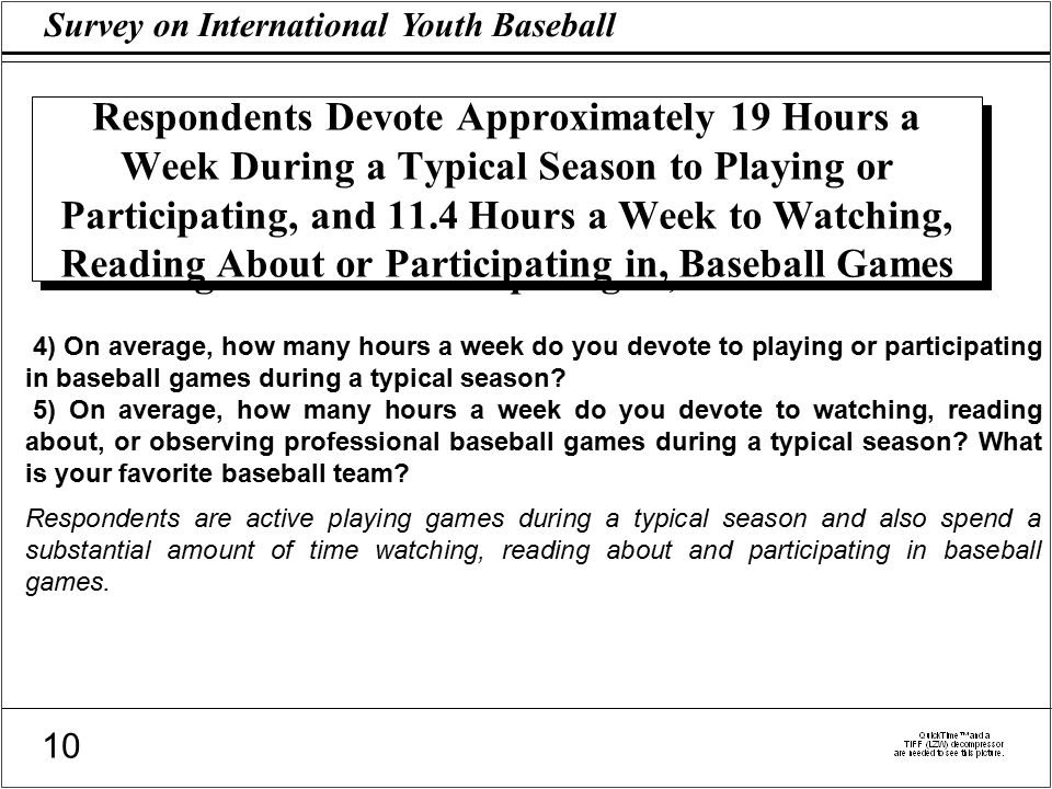 Survey on International Youth Baseball 10 Respondents Devote Approximately 19 Hours a Week During a Typical Season to Playing or Participating, and 11.4 Hours a Week to Watching, Reading About or Participating in, Baseball Games 4) On average, how many hours a week do you devote to playing or participating in baseball games during a typical season.