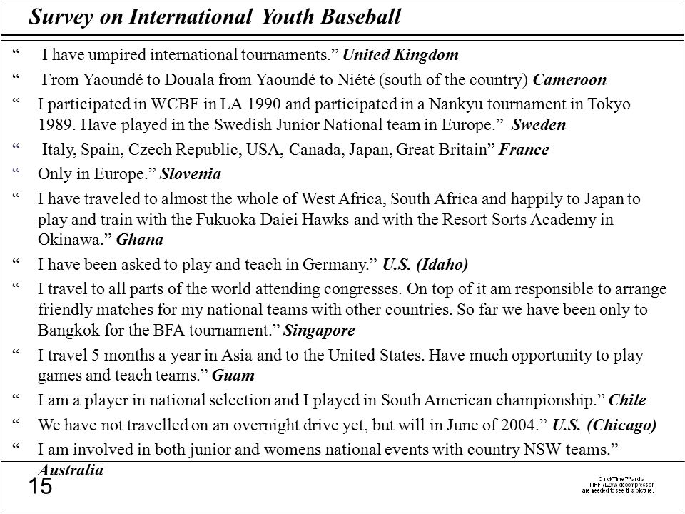 Survey on International Youth Baseball 15 I have umpired international tournaments. United Kingdom From Yaoundé to Douala from Yaoundé to Niété (south of the country) Cameroon I participated in WCBF in LA 1990 and participated in a Nankyu tournament in Tokyo 1989.