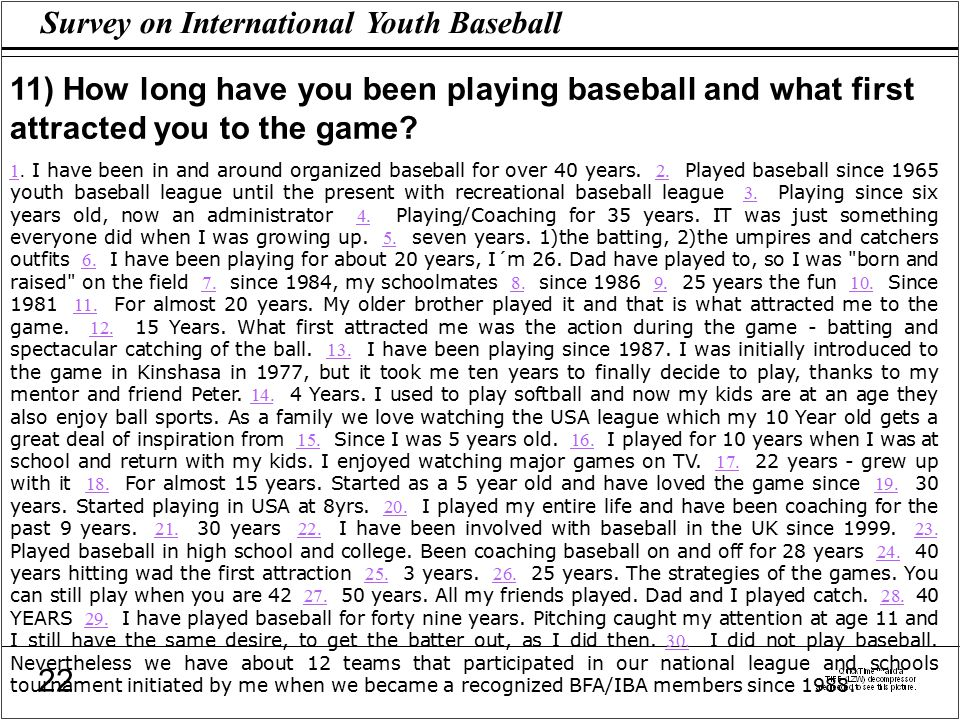 Survey on International Youth Baseball 22 11) How long have you been playing baseball and what first attracted you to the game.