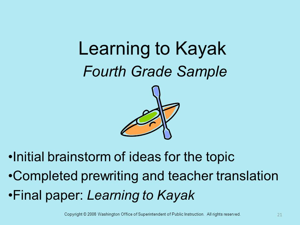 Learning to Kayak Fourth Grade Sample Initial brainstorm of ideas for the topic Completed prewriting and teacher translation Final paper: Learning to
