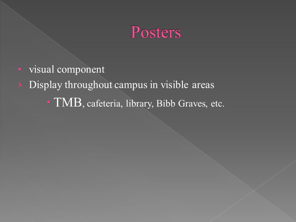 visual component › Display throughout campus in visible areas  TMB, cafeteria, library, Bibb Graves, etc.