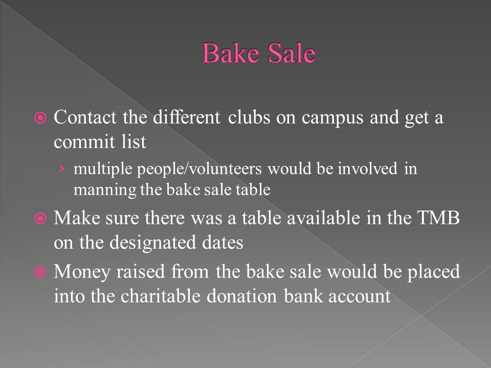  Contact the different clubs on campus and get a commit list › multiple people/volunteers would be involved in manning the bake sale table  Make sure there was a table available in the TMB on the designated dates  Money raised from the bake sale would be placed into the charitable donation bank account