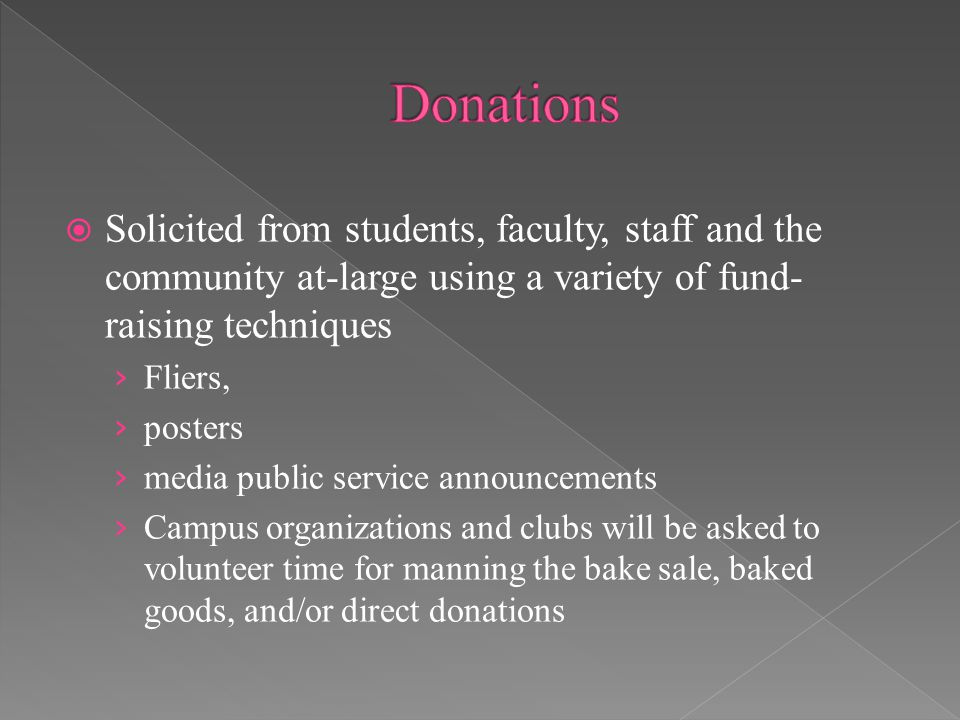 Solicited from students, faculty, staff and the community at-large using a variety of fund- raising techniques › Fliers, › posters › media public service announcements › Campus organizations and clubs will be asked to volunteer time for manning the bake sale, baked goods, and/or direct donations