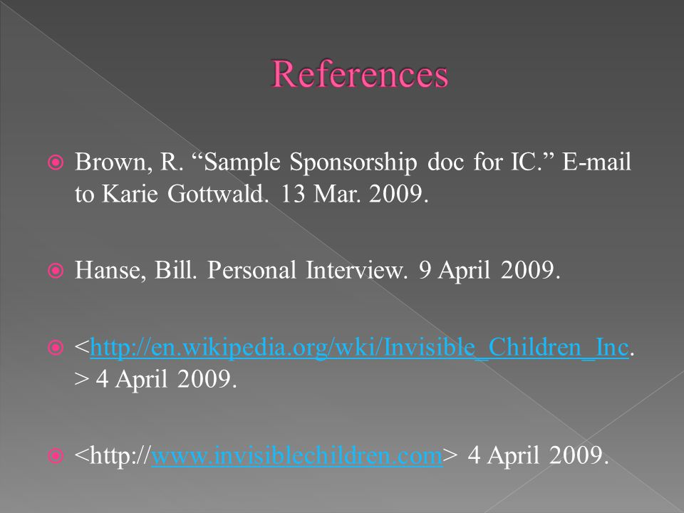  Brown, R. Sample Sponsorship doc for IC. E-mail to Karie Gottwald.