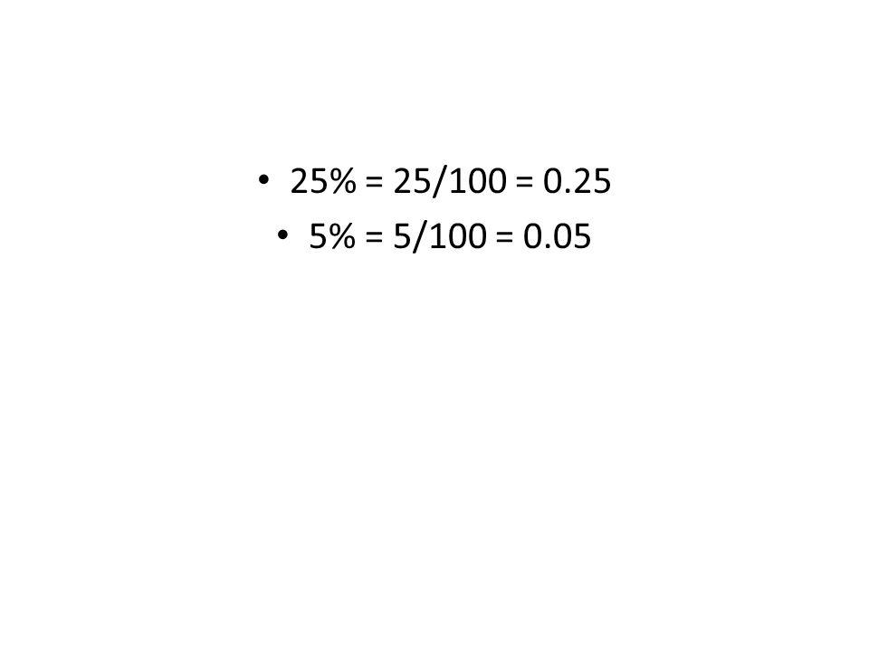25% = 25/100 = 0.25 5% = 5/100 = 0.05