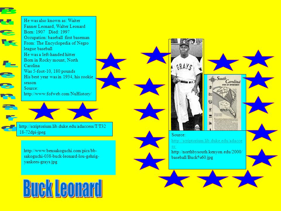 He was also known as: Waiter Fanner Leonard, Walter Leonard Born: 1907 Died: 1997 Occupation: baseball first baseman From: The Encyclopedia of Negro league baseball He was a left-handed hitter Born in Rocky mount, North Carolina Was 5-foot-10, 180 pounds His best year was in 1934, his rookie season Source: http://www.fofweb.com/NuHistory/ http://www.bensakoguchi.com/pics/bb- sakoguchi-038-buck-leonard-lou-gehrig- yankees-grays.jpg http://scriptorium.lib.duke.edu/adaccess/T/T32 18-72dpi-jpeg Source: http://scriptorium.lib.duke.edu/adacce ss/ http://scriptorium.lib.duke.edu/adacce ss/ http://northbysouth.kenyon.edu/2000/ baseball/Buck%60.jpg