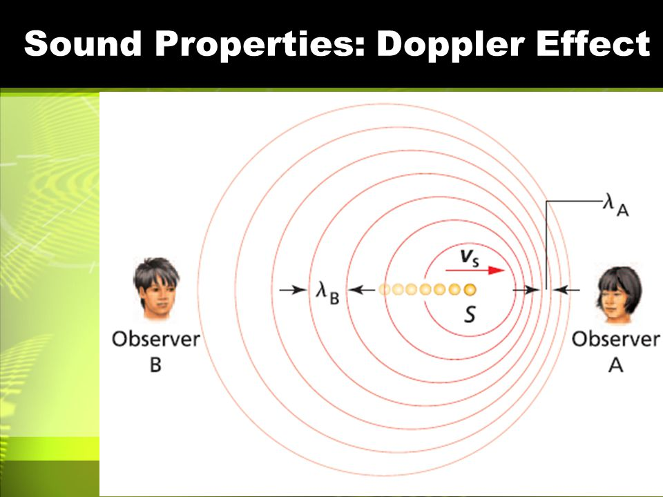 Sound Properties: Doppler Effect Perceived frequency –How often the pressure front hits your ear per second Scenarios –Sound source stationary, you st