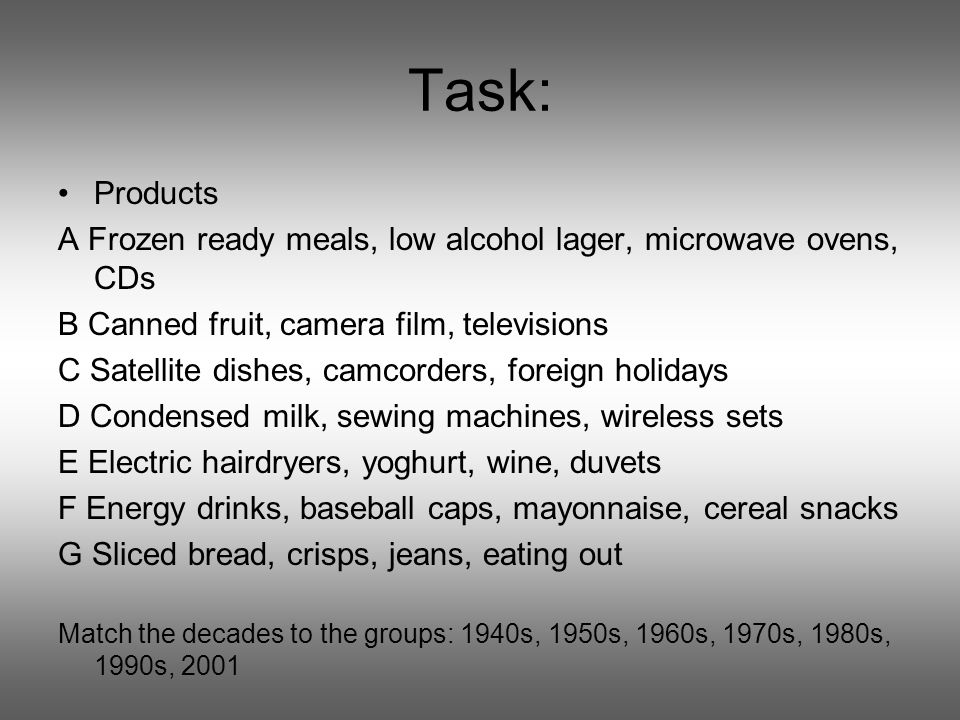 Task: Products A Frozen ready meals, low alcohol lager, microwave ovens, CDs B Canned fruit, camera film, televisions C Satellite dishes, camcorders, foreign holidays D Condensed milk, sewing machines, wireless sets E Electric hairdryers, yoghurt, wine, duvets F Energy drinks, baseball caps, mayonnaise, cereal snacks G Sliced bread, crisps, jeans, eating out Match the decades to the groups: 1940s, 1950s, 1960s, 1970s, 1980s, 1990s, 2001