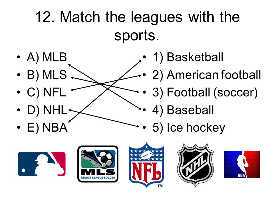 12. Match the leagues with the sports.