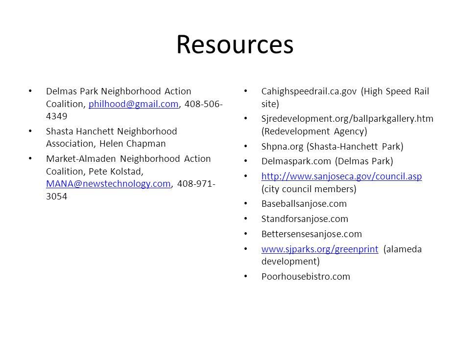 Resources Delmas Park Neighborhood Action Coalition, philhood@gmail.com, 408-506- 4349philhood@gmail.com Shasta Hanchett Neighborhood Association, Hel