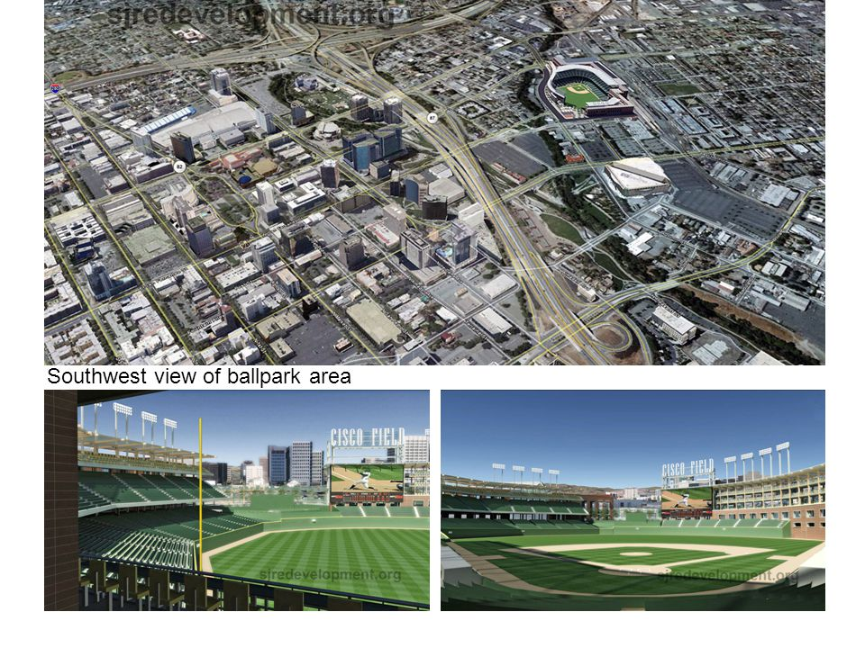 Southwest view of ballpark area