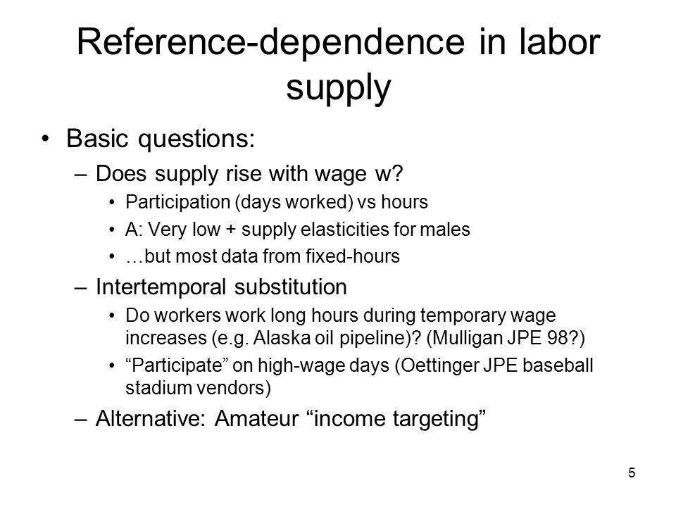 5 Reference-dependence in labor supply Basic questions: –Does supply rise with wage w.