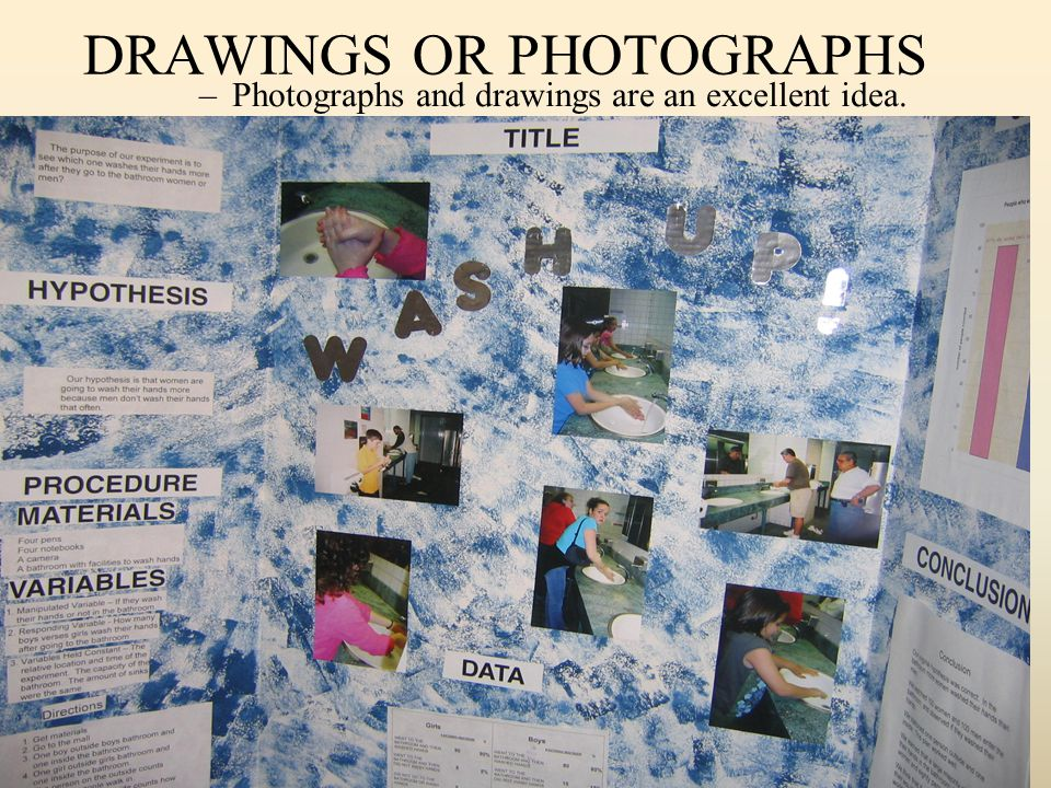 DRAWINGS OR PHOTOGRAPHS –Photographs and drawings are an excellent idea.