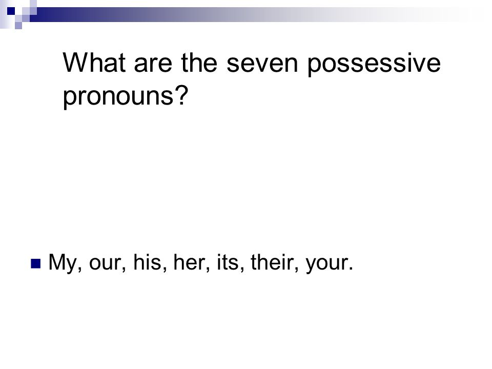 What are the seven possessive pronouns My, our, his, her, its, their, your.
