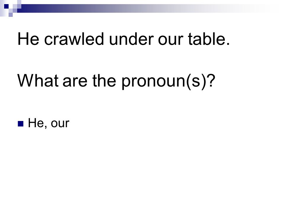 He crawled under our table. What are the pronoun(s) He, our