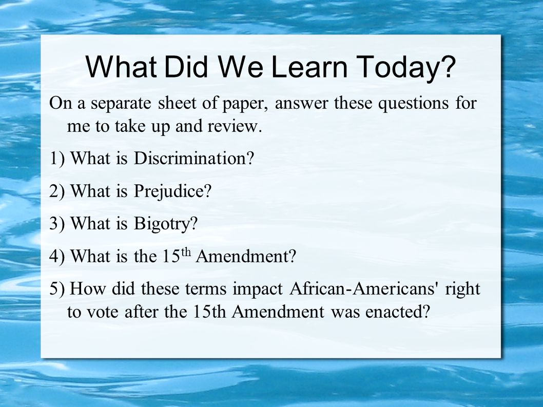 What Did We Learn Today.