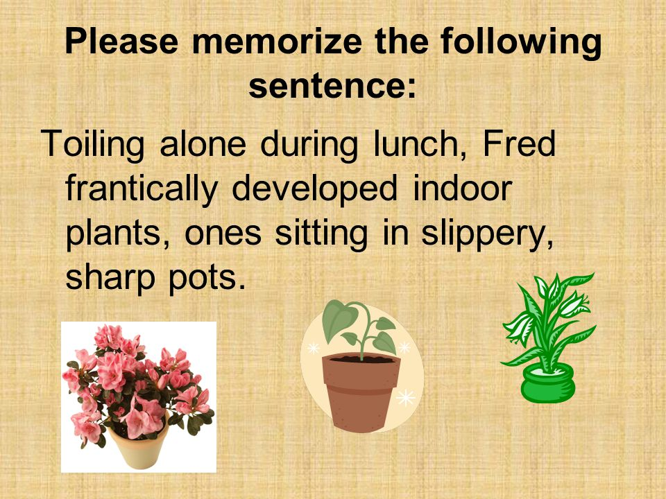 Please memorize the following sentence: Toiling alone during lunch, Fred frantically developed indoor plants, ones sitting in slippery, sharp pots.