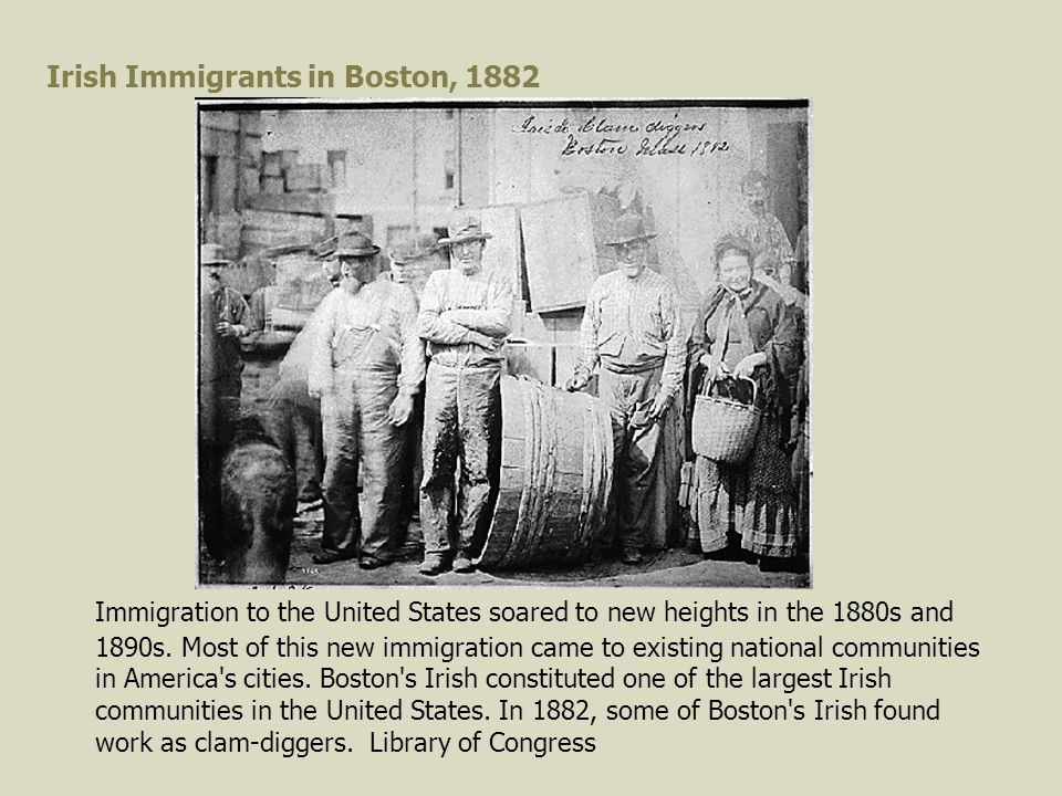 Irish Immigrants in Boston, 1882 Immigration to the United States soared to new heights in the 1880s and 1890s.
