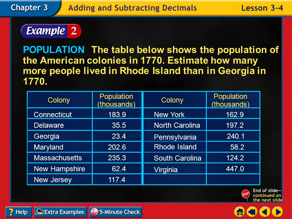 Example 4-1c POPULATION The table below shows the population of the American colonies in 1770.