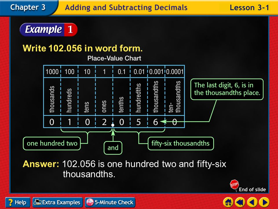Lesson 1 Contents Example 1Write a Decimal in Word Form Example 2Standard Form and Expanded Form