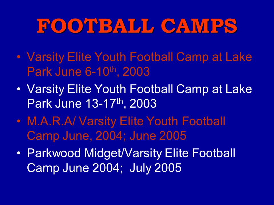 Varsity Elite History Created in 2003 Over 1000 Campers have participated in 29 different camps 35+ qualified coaches have been employed Founded, owne