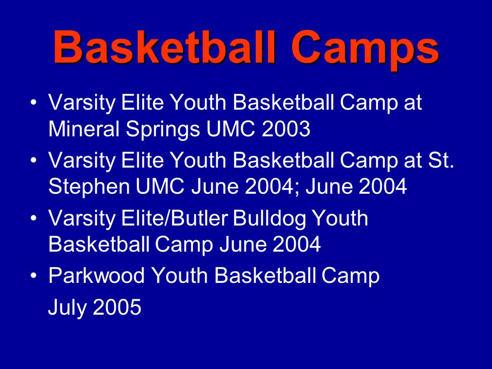 Baseball Camps Varsity Elite Youth Baseball Camp at Lake Park 2003 Varsity Elite Fall Baseball Camp at Waxhaw Athletic Association 2003 Varsity Elite Jump Start Baseball Camp 2004 Varsity Elite Youth Baseball Camp at Parkwood 2004, 2005 Varsity Elite Youth Baseball Camp at Mint Hill Athletic Association 2004