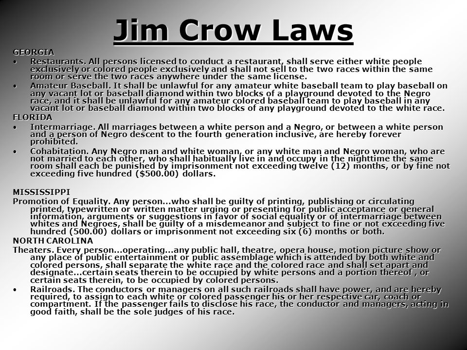 Jim Crow Laws GEORGIA Restaurants.