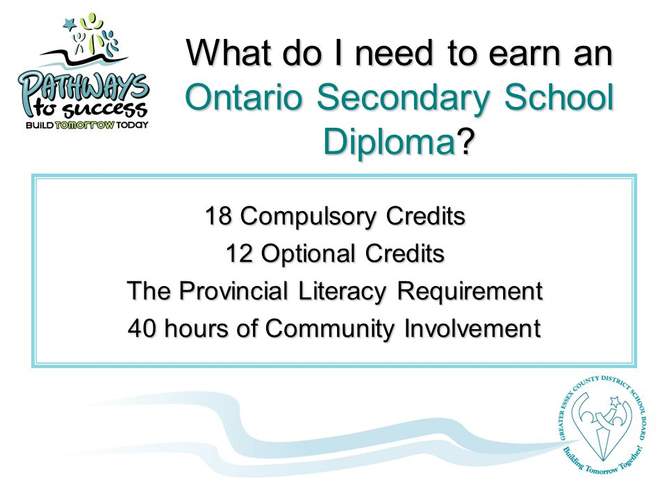 What do I need to earn an Ontario Secondary School Diploma.