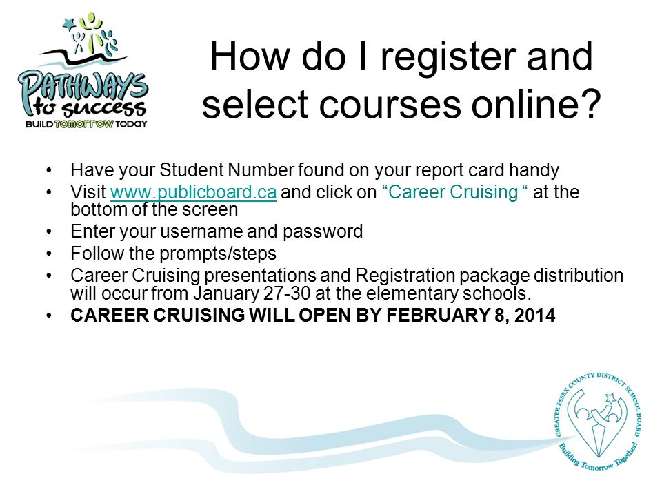 How do I register and select courses online.