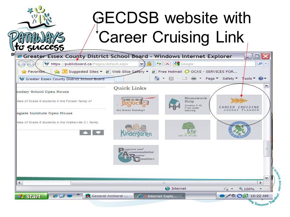 GECDSB website with Career Cruising Link