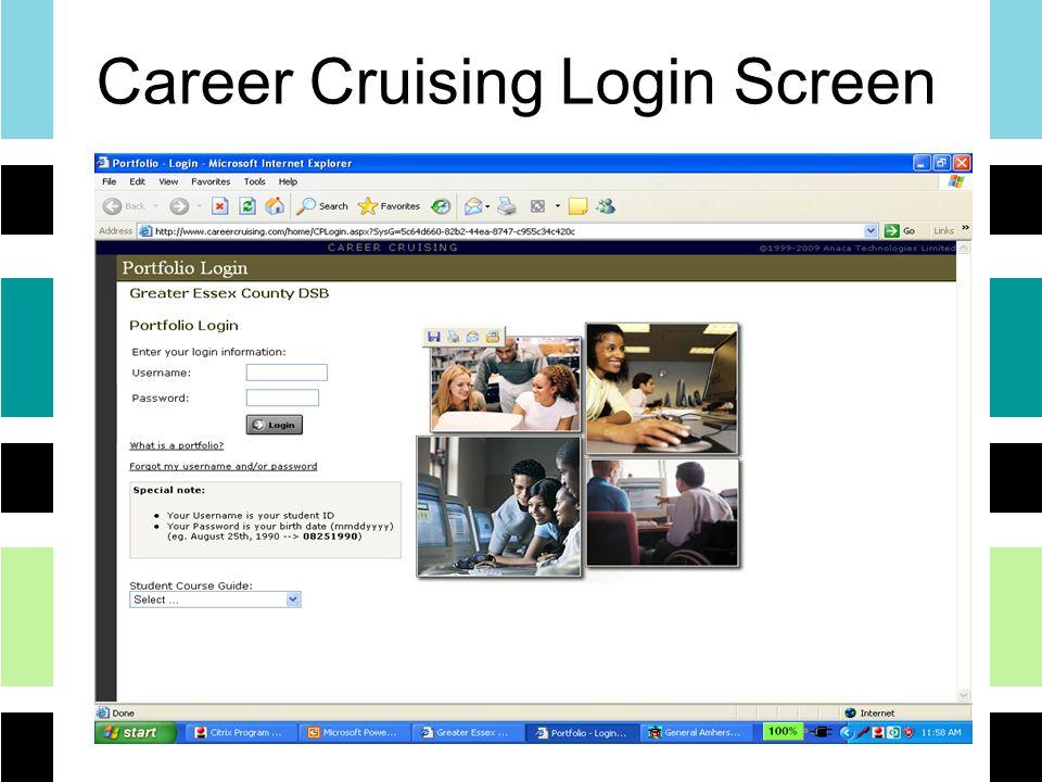 Career Cruising Login Screen