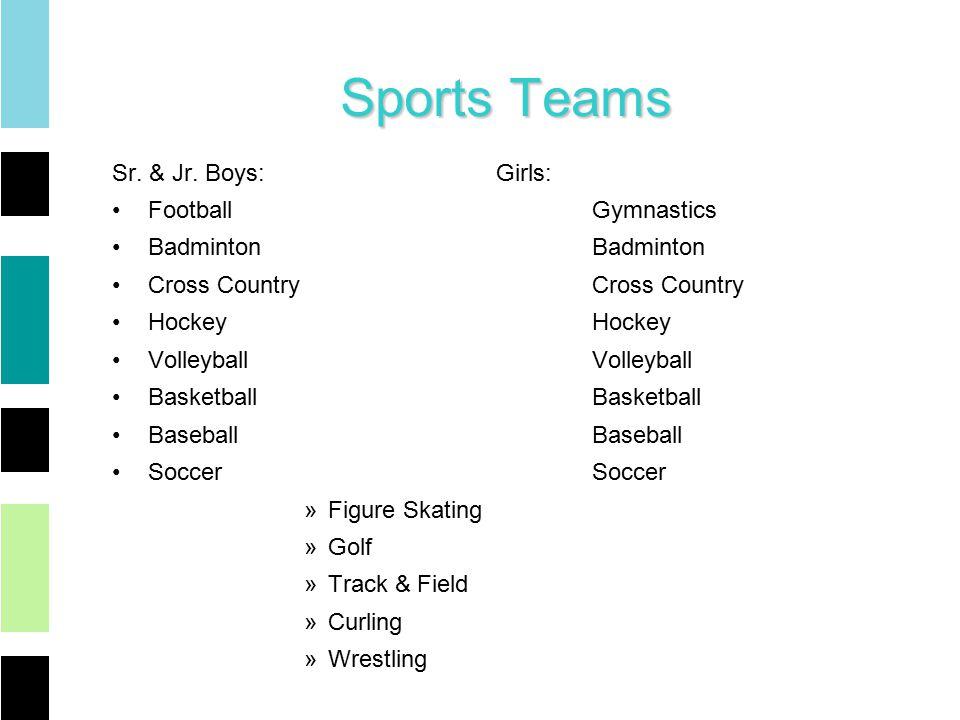 Sports Teams Sr. & Jr.