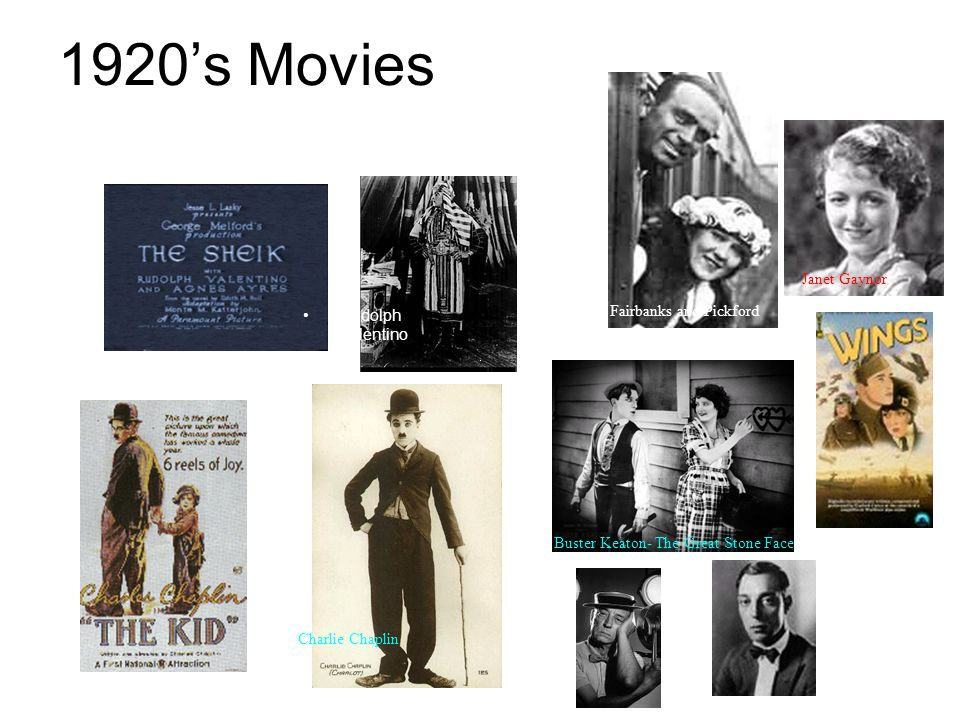 1920's Movies Fairbanks and Pickford Janet Gaynor Rudolph Valentino Charlie Chaplin Buster Keaton- The Great Stone Face